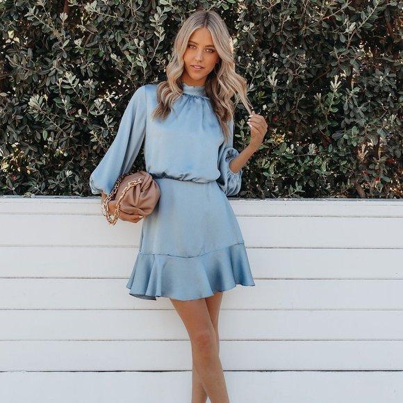 CALL ME ANGEL TEXTURED SATIN DRESS - DUSTY BLUE